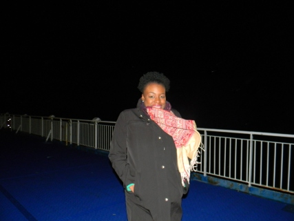 Me on the ferry at night