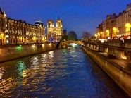 Notre Dame and River Seine at night, Paris