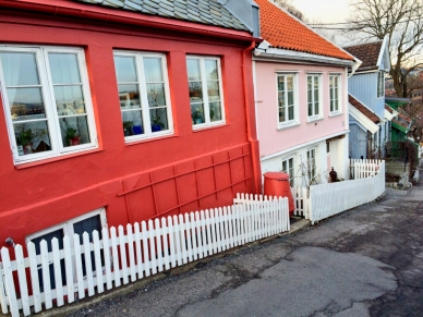 Colourfully painted houses, Oslo