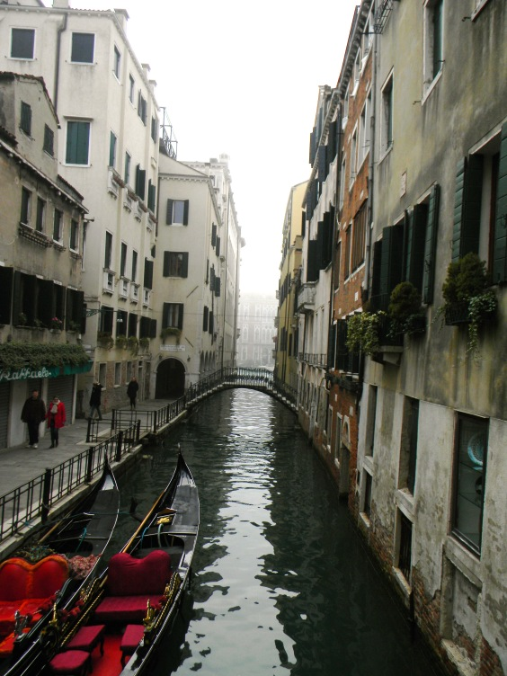 Gondolas on a Canal, Venice