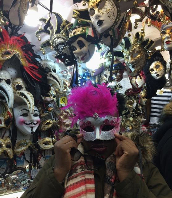 Me trying on a Venetian mask, Venice