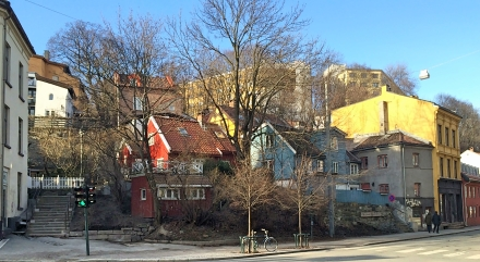 Oslo street with colourful houses