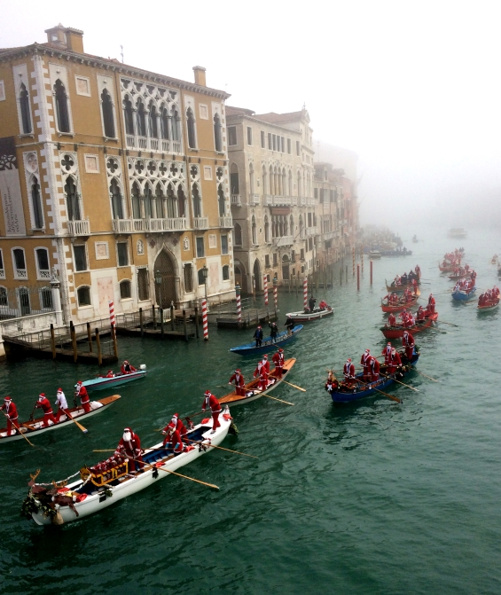 Santas on Gondola parade,Venice