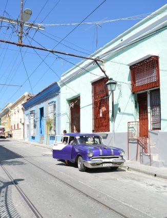 Classic car on the street of Santiago de Cuba, Cuba