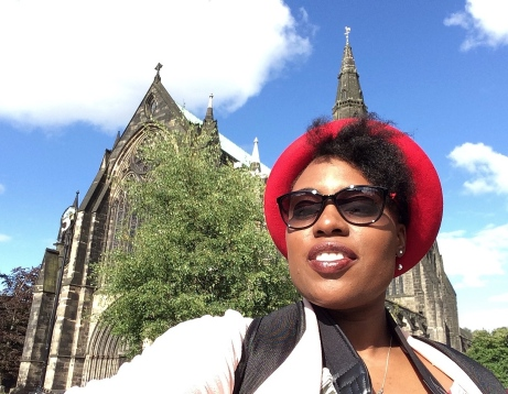 Me outside St Giles Cathedral in Glasgow, Scotland