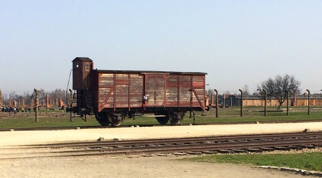 Cart used to transport people, Birkenau, Poland