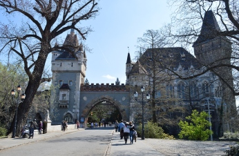 The entrance to Castle Vajdahunyad, Budapest, Hungary