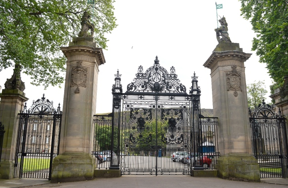 The gates of The Palace of Holyroodhouse, Edinburgh, Scotland