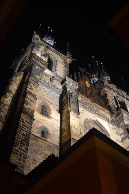 Church of Our Lady before Týn, Prague at Night, Czech Republic