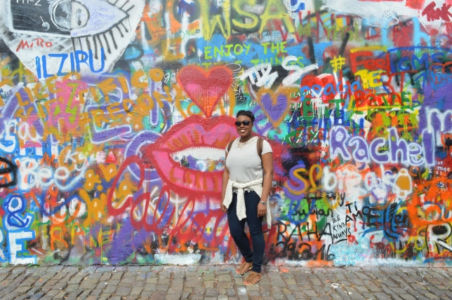 Me at the John Lennon Wall, Prague, Czech Republic