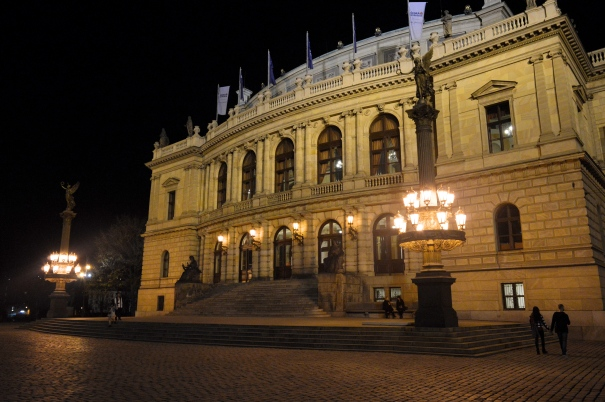 Prague Opera House at Night, Czech Republic