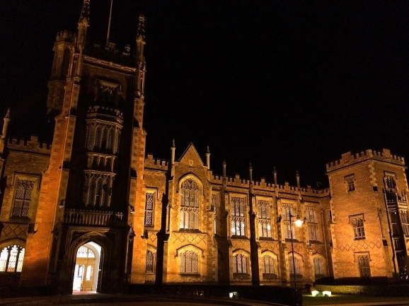 Queen's University at night, Belfast, Northern Ireland