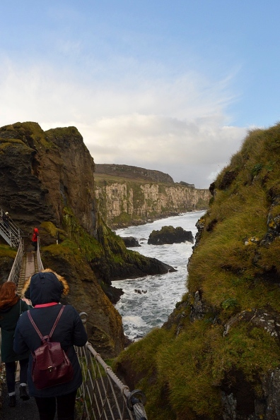 Walking on Carrick-a-Rede Rope Bridge, Northern Ireland