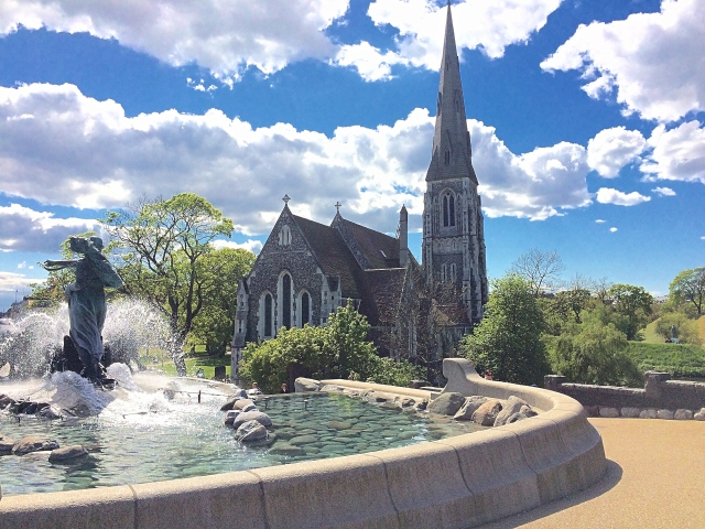 St Alban's Church and Gefion Fountain, Copenhagen, Denmark