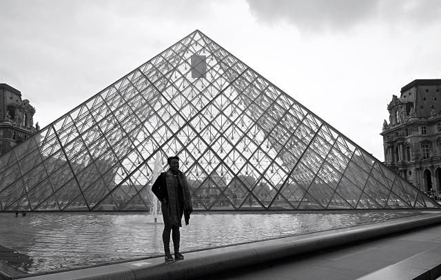 Me outside the Louvre Museum, Paris, France