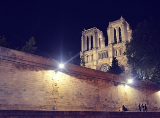 Notre Dame at Night From the River Seine, Paris, France