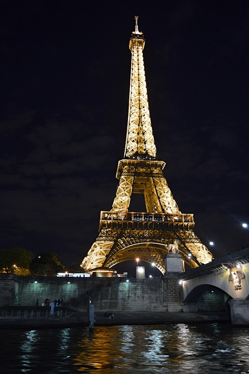 The Eiffel Tower at Night from the River Seine, Paris, France