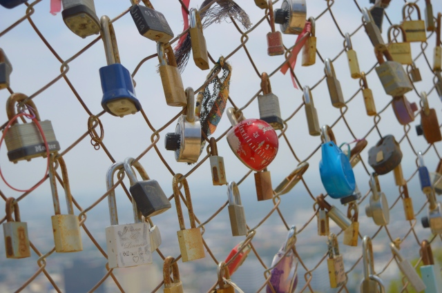 Padlocks on Runyon Canyon Park, Los Angeles, USA